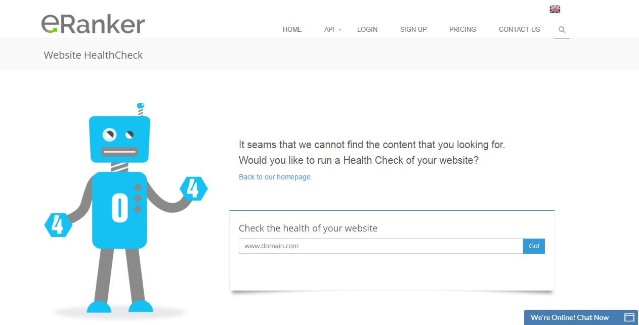 eRanker website uptime monitoring alert